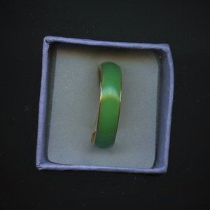 Ring Jade, Green, 6mm,  Size 6.5